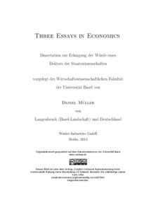 Three Essays In Economics  Edoc Three Essays In Economics