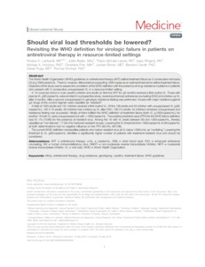 Should viral load thresholds be lowered? Revisiting the WHO